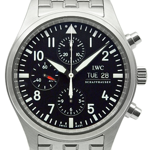Iwc Pilot Watch Chronograph Iw 371704 Men's Automatic Black Letter Wrist