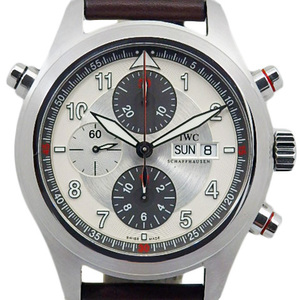 Iwc Spitfire Double Chronograph Iw 371806 Men's Automatic Black / Silver Dial Watch