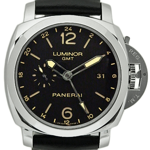Panerai Luminol Gmt 3days 24 H Atchiaio Pam 0053 Men's Automatic Back Skeleton Q Number Black Case Watch Wrist