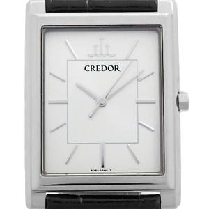 K18wg Seiko Credor Signino Gbar 013 8j81 Mens Quartz Silver Dial Watch