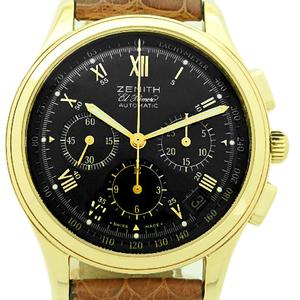K18yg Zenith El Primero Chronograph 30.0500.400 Automatic Back Scale Black Case Watch Wrist