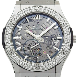 Hublot Classic Fusion Classico Ultrasin 515 - Nx 0170 Lr 1104 Titanium Diamond Bezel Hand Rolled Men's Back Skate Gray Skeleton Dial Watch