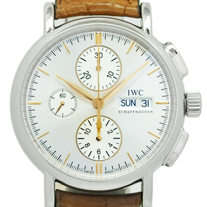 Iwc Portofino Chronograph Iw 378302 Men's Automatic Silver Dial Face Watch