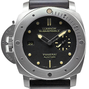 Panerai Luminor Submersible 1950 3days Left Hand Pam 00569 Men's Automatic Q Number Black Case Watch Wrist