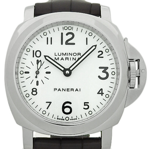 Panerai Luminor Marina Pam00113 Men's Back Scales Hand Wound Nth White Dial Wrist Watch