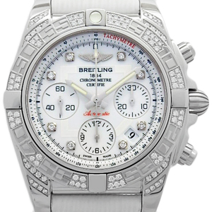 Breitling Chronomat 41 Ab0140 Ab0140af Chronograph Bezel Rug Diamond 8p Diamonds Automatic White Dial Watch