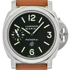 Panerai Luminor Marina Logo Pam00005 44mm R Men's Hand Wound Black Dial Watch Wristwatch