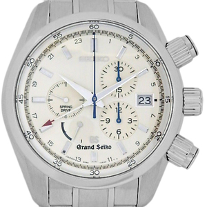Seiko Gs Grand Spring Drive Gmt Sbgc001 9r86 Power Reserve Rear Scale Men's Automatic Silver Dial Watch Wrist