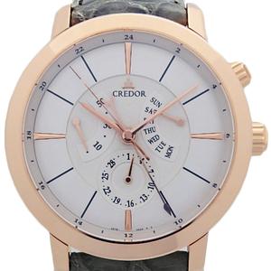 K18pg Seiko Credor Node Retrograde Power Reserve Gbbt 998 4s 76 Men's Automatic Silver Dial Watch Wrist