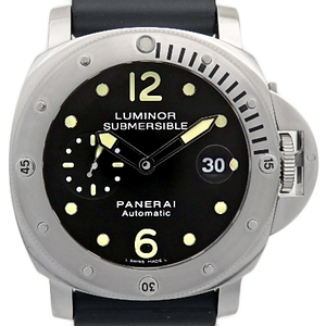 Panerai Luminor Submachible Pam00024 Men's Automatic Rolloid Black Case Watch Wrist