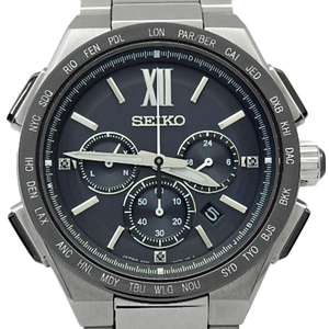 Seiko Brights World Time Chronograph Saga 209 8b92-0af0 Solar Radio Wave Ti Mens Quartz Black Dial Watch Wristwatch