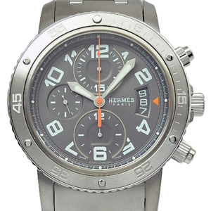 Hermes Clipper Diver Chronograph Cp 2.941 Men's Automatic Back Scale Gray Dial Watch