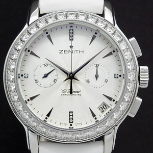 Zenith Star El Primero Chronograph Chrono Master 16.1230.4002 Diamond Bezel Ladies Automatic Back Scale Silver Dial Watch