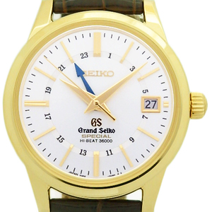 K18yg Seiko Gs Grand Special High Beat 36000 Sbgj 008 8 9s86 Master Shop Limited Automatic Back Scale Men's Silver Dial Watch Wrist