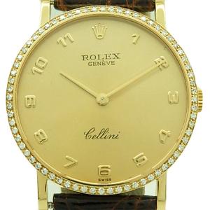 K18yg Rolex Cherini Ref. 5114 Diamond Bezel Men's Hand-rolled Gold Dial Watch