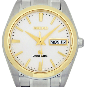 Seiko Gs Grand Sbgt 038 9f83 Day Date K18 Yg / Ss Combination Men's Quartz Silver Dial Watch
