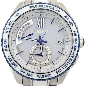Seiko Brights Saga 175 8b54 Solar Motion Blue Yokohama 300 Limited Mens Quartz White Dial Watch