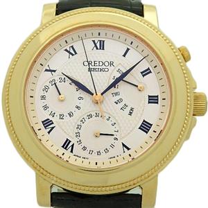 K18yg Seiko Credor Retrograde Gbbg 998 4s77 Men's Back Scale Automatic Silver Dial Watch Wrist