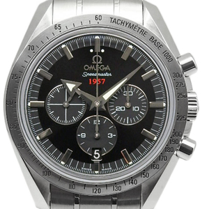 Omega Speedmaster 1957 Broad Arrow Chronograph 321-10-42-50-01-001 Co-axial 50th Anniversary Automatic Back Scale Mens Black Letter Watch