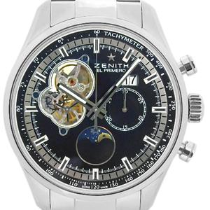 Zenith Chrono Master El Primero Rock Moon Phase Sun Grand Date 03.2160.4047 Chronograph Men's Automatic Back Skeleton Black Watch Wrist