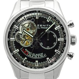 Zenith El Primero Open Chronograph 03.2080.4021 Power Reserve Automatic Back Scale Black Case Watch Wrist