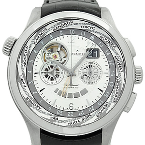 Zenith Class Open Traveler Multi City El Primero Chronograph 03.0520.4037 22. C 660 Power Reserve Men's Automatic Back Scale Silver Dial Watch