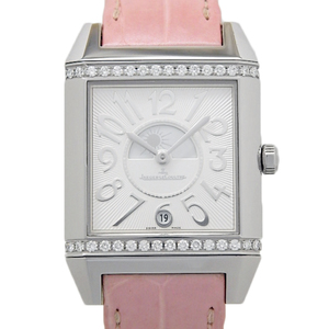 Jaeger Le Coultre Reverso Squadra Diamond Bezel Q 7058420 235.8.76 Women's Quartz Silver / Black Letter Wrist Watch