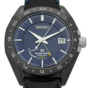 Seiko Gs Grand Sbge 039 9r16 Gmt Master Shop Limited Spring Drive Black Ceramic Back Scale Men's Automatic Metallic Blue Dial Watch