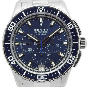 Zenith El Primero Strap Flyback Chronograph 03.2067.405 Men's Automatic Back Scale Blue Dial Watch