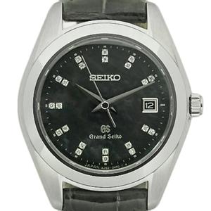 Seiko Gs Grand 22p Diamond Stgf 097 4j52 Quartz Women's Black Shell Dial Watch