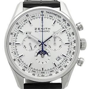 Zenith El Primero 410 Chronograph Moon Phase Triple Calendar 03.2091.410 01.c494 Men's Automatic Back Scale Silver Dial Watch
