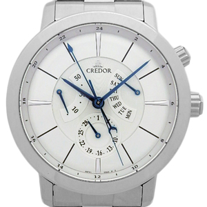 Seiko Credor Node Day-date Power Reserve Gcbt993 4s76 Men's Automatic Silver Dial Watch Wrist