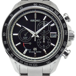 Seiko Gs Grand Spring Drive Chronograph Sbgb003 9r84-0aa0 Men's Automatic Backside Scale Black Dial Watch Wrist