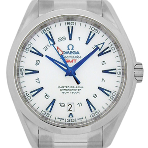 Omega Seamaster Aqua Terra Gmt Good Planet Ti 231-90-43-22-04-001 Master Coaxial Chronometer Men's Automatic Back Scale White Dial Watch