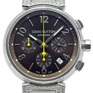Louis Vuitton Tambour Chronograph Q112g Lagdiye Diamond Collection Men's Automa Brown Dial Watch