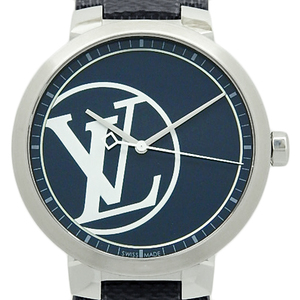 Louis Vuitton Tambour Slim Qa001 100pcs Limited Quartz Men's Navy Dial Watch