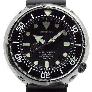 Seiko Pro Specs Marine Master Professional Spring Drive Sbdb013 5r65 Diver Power Reserve Ti 600m Men's Automaton Black Letter Board Wrist Watch