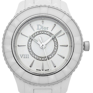Christian Dior Viii Ceramic Yuut Cd1231e2 Ladies Quartz Circle Diamond / Silver Dial Watch