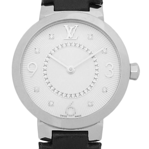 Louis Vuitton Tambour Monogram Pm 8 P Diamond Q 12 Mg 5 Quartz Ladies Silver Dial Watch