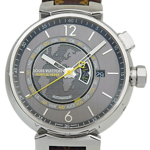 Louis Vuitton Tambour World Timer Q 1055 Men's Automatic Back Scale Gray Dial Watch
