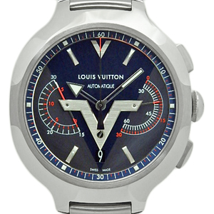 Louis Vuitton Voyageur Q7d601 Chronograph Men's Automatic Gray Blue Dial Watch