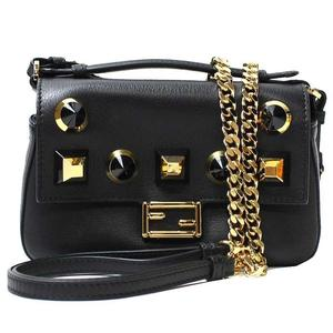 Fendi 8M0371 Leather Shoulder Bag Black