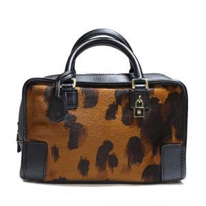 Loewe Amasona 23 Brown × Black Harako Handbag Women's