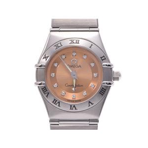 中古 オメガ コンステレーション1564.65 SS 12Pダイヤ ピンク系文字盤 シンディクロフォード クオーツ レディース 腕時計 OMEGA