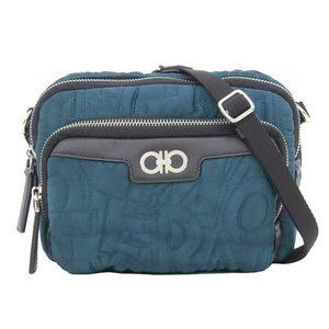Salvatore Ferragamo Genuine Ferragamo Gancini Nylon Leather Mini Shoulder Bag Blue Green
