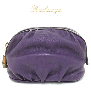 Gucci Bamboo Tassel Accessory Pouch Leather Purple 246175 Makeup Unused Item