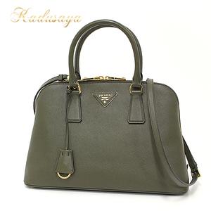 Prada Promenade Back 2 Way Handbags Saffiano Leather Militare (Olive Green System) Bl0837 Shoulder Bag As New