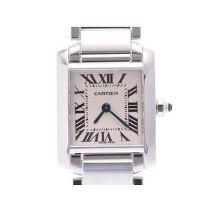 中古 カルティエ タンクフランセーズSM WG アイボリー系文字盤 クオーツ レディース 腕時計 CARTIER