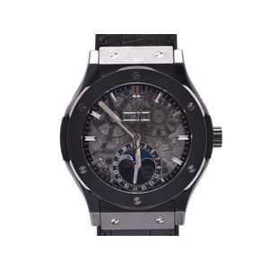 Used Hublot Aero Fusion Moon Phase Black Magic 517.cx.0170.lr Ti / Rubber Automatic Winding Box Gala Men's Watch