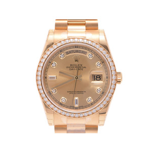新品 ロレックス デイデイト118348A YG ベゼルダイヤ 10Pダイヤ シャンパン文字盤 箱 ギャラ 自動巻 メンズ 腕時計 ROLEX
